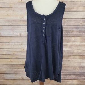Free People Linen Sleeveless High/Low Flowy Blouse